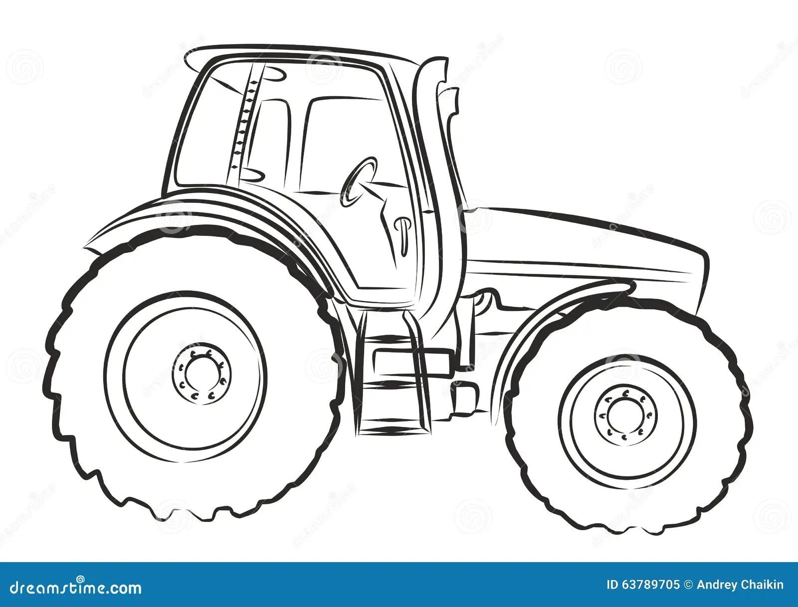 Tractor Sketch Stock Vector Illustration Of Rural