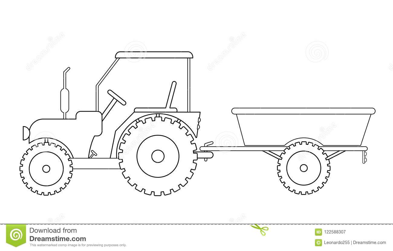 Tractor With Trailer Drawing Stock Vector