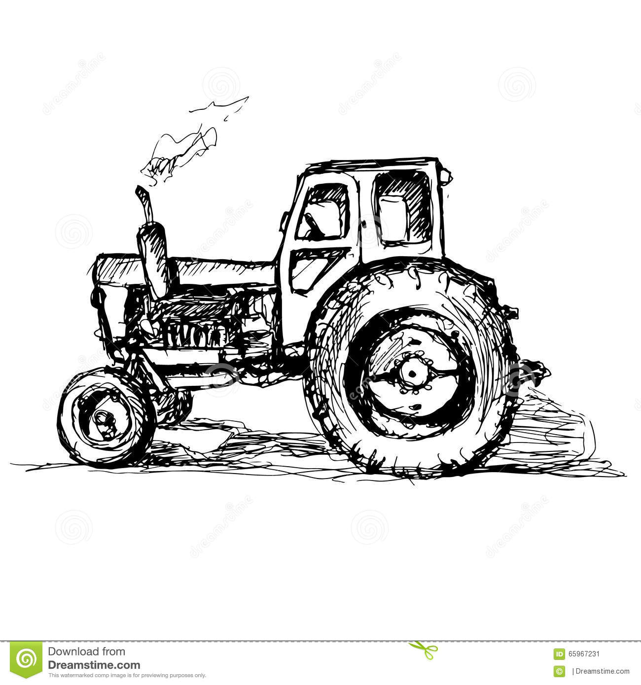 Tractor On White Background Stock Vector