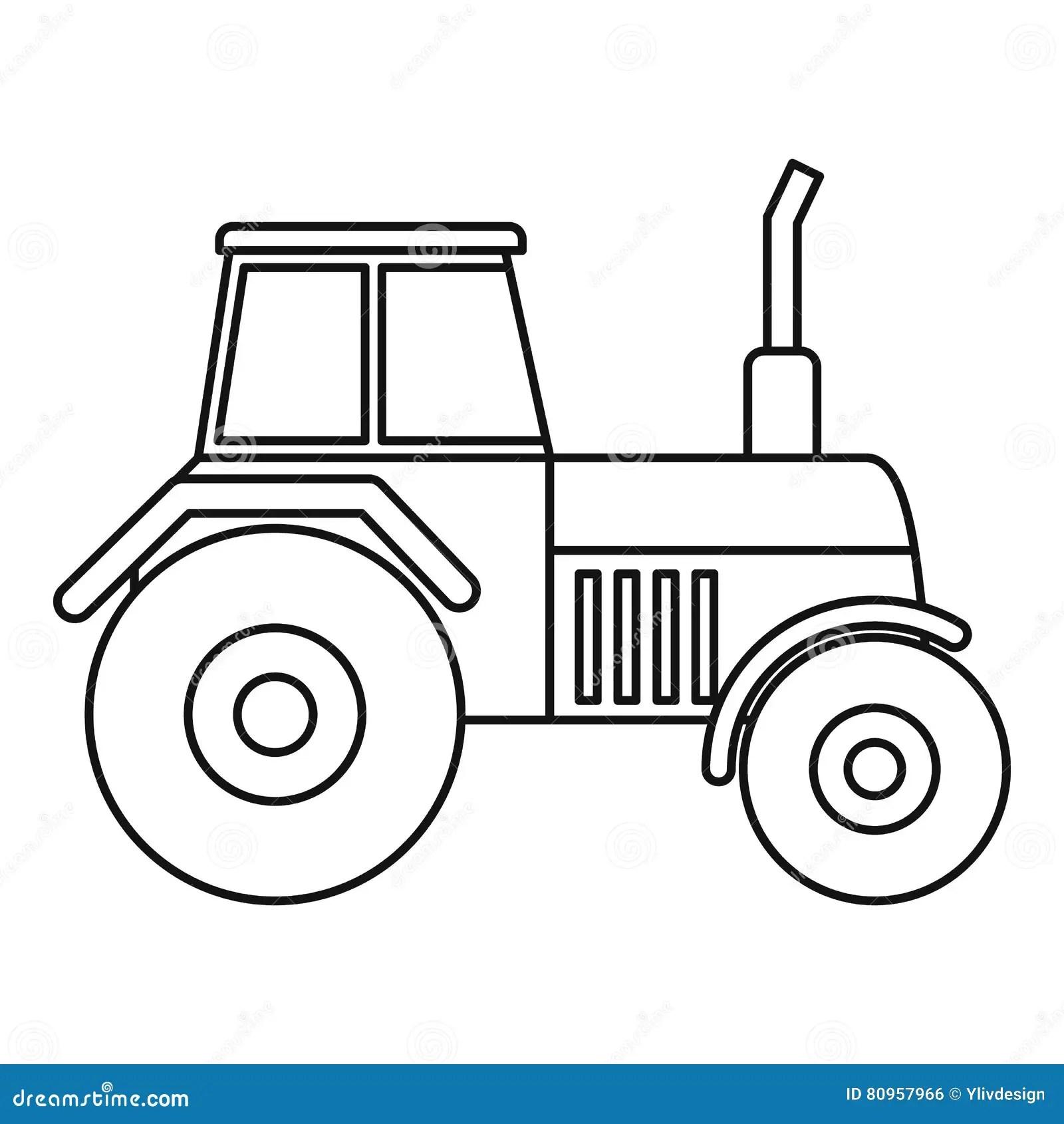 Tractorpictogram Overzichtsstijl Vector Illustratie
