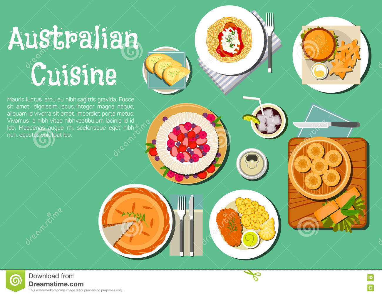 Traditional Australian Cuisine Dishes Flat Icon Stock