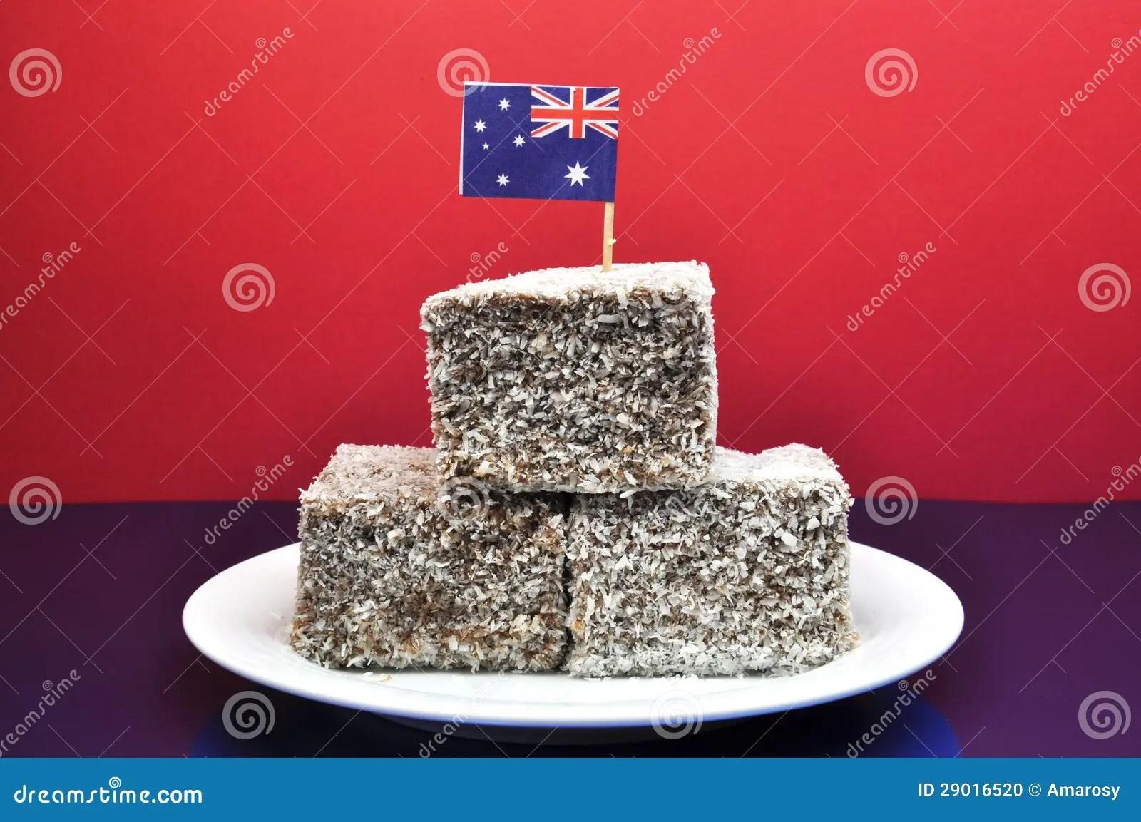 Traditional Australian Food Lamingtons With Flag Stock