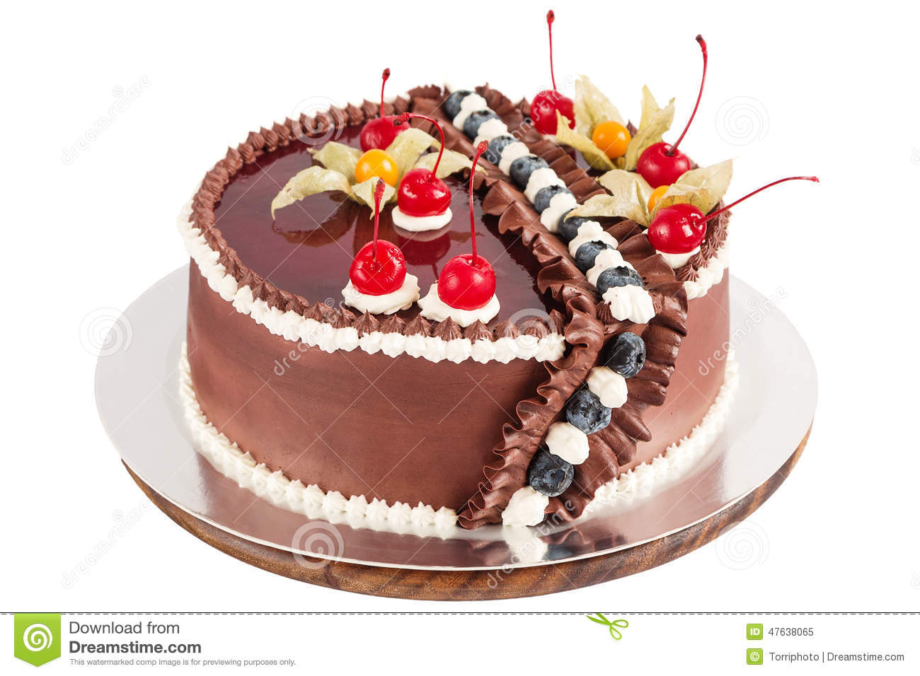 Traditional Chocolate Cake Decorated With Cream Cherries