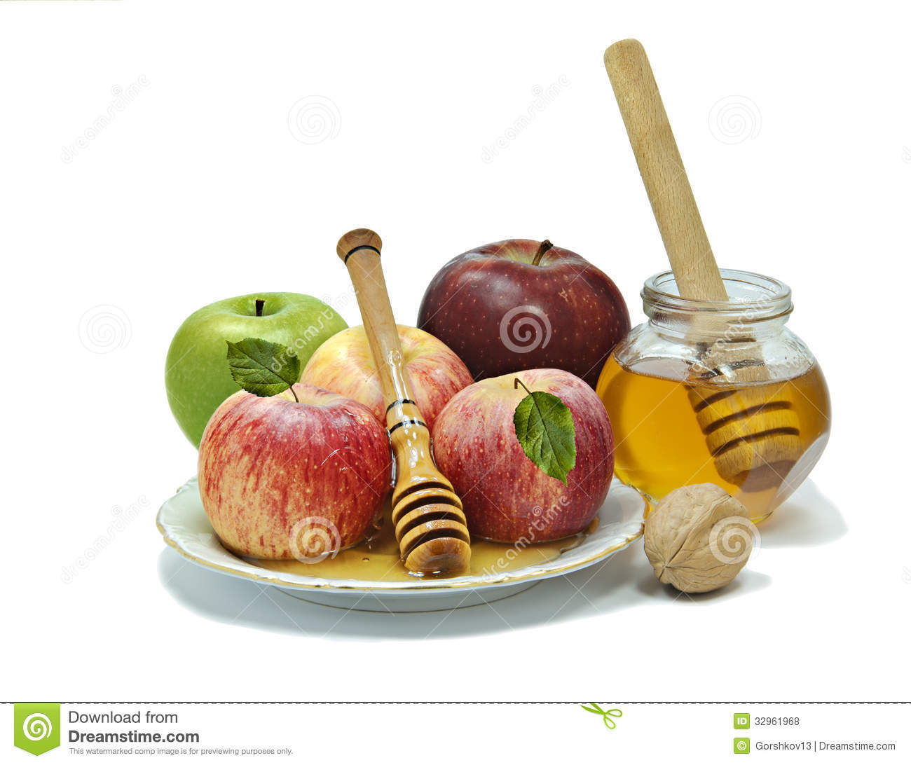 Traditional Food For Rosh Hashanah Royalty Free Stock Photos