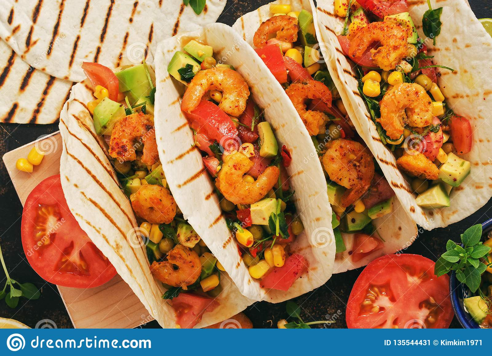 Traditional Mexican Food Tacos With Shrimps And Vegetables