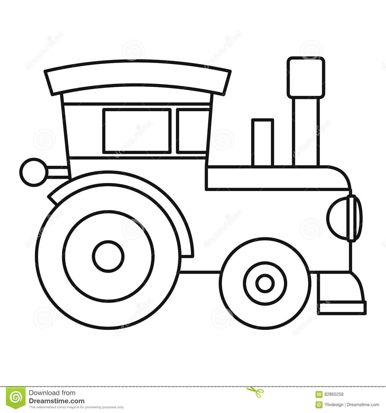 Train Locomotive Toy Icon Outline Style Stock Vector