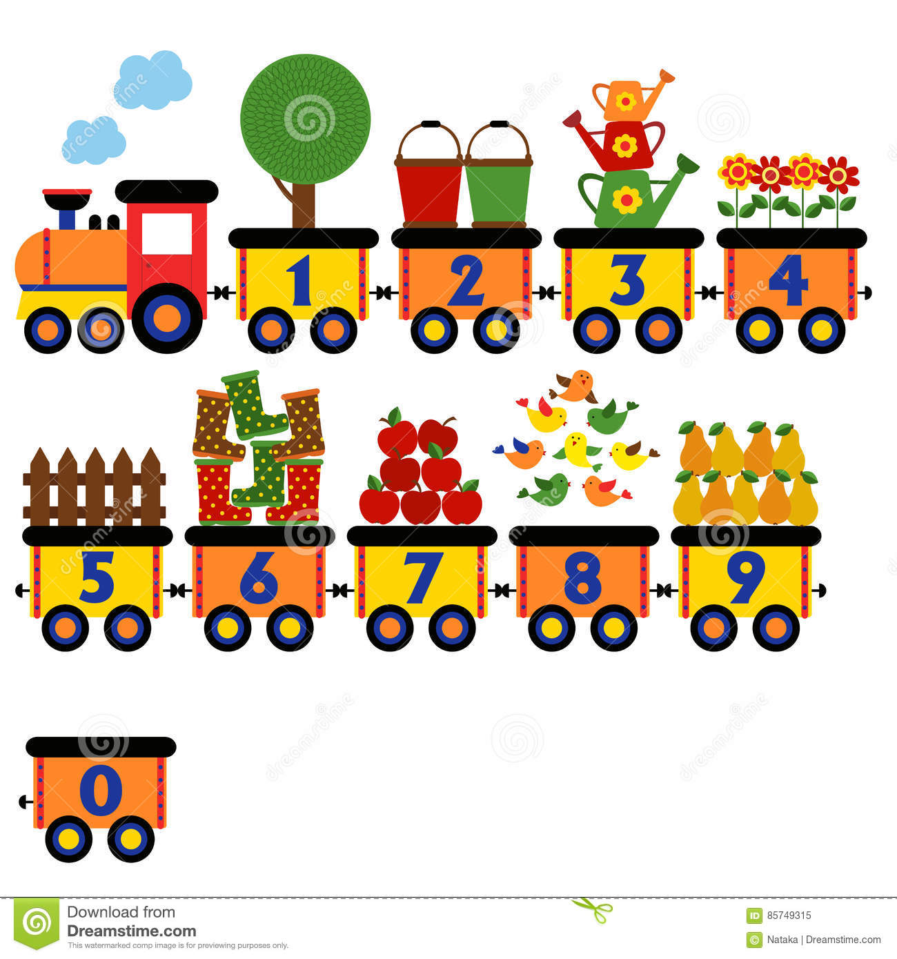 Train With Number Of Garden Elements Stock Vector