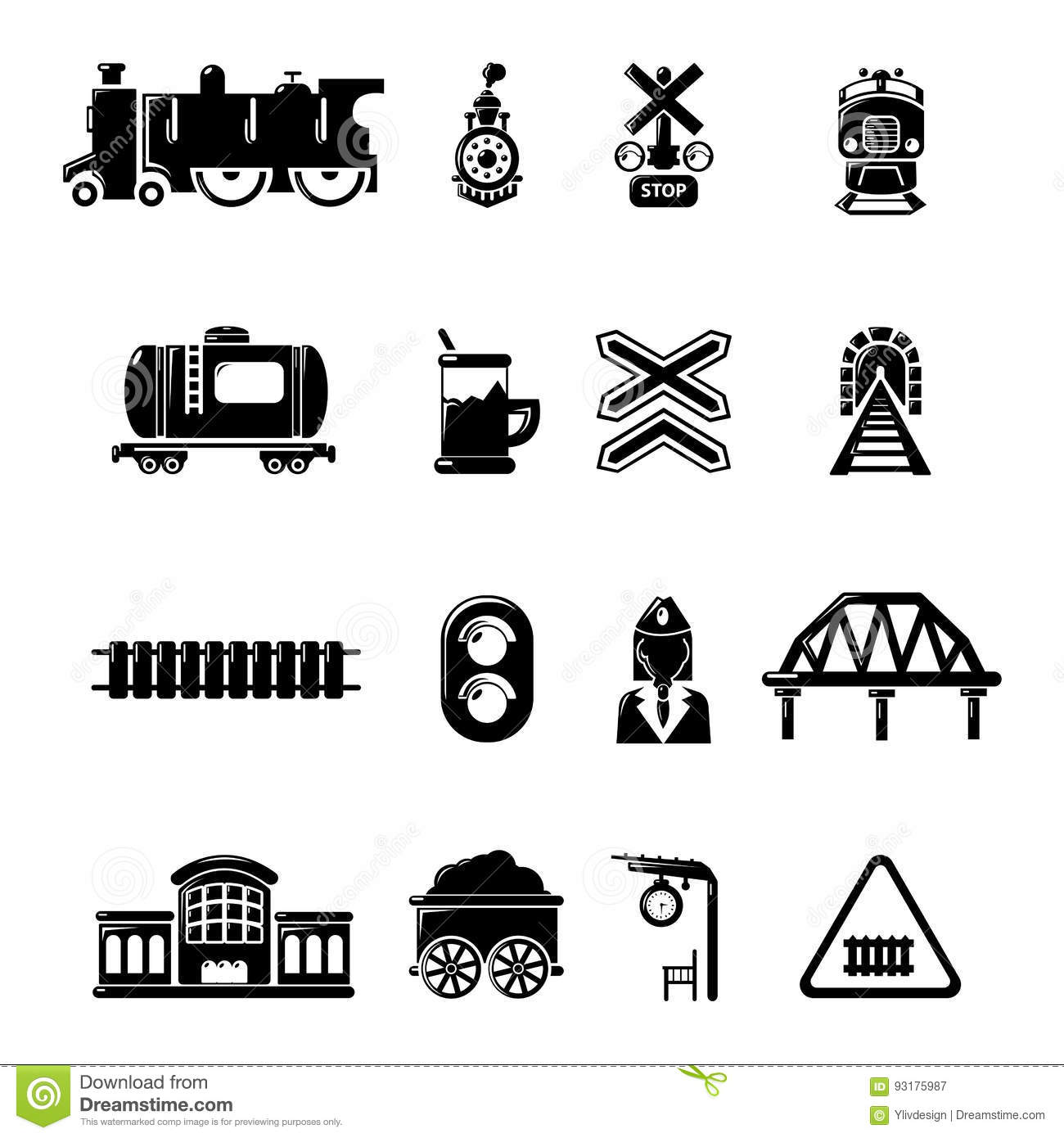 Train Railroad Icons Set Simple Style Stock Vector