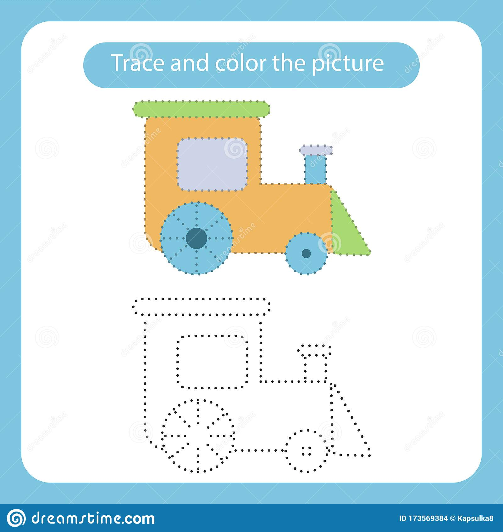 Train Toy With Simple Shapes Trace And Color The Picture