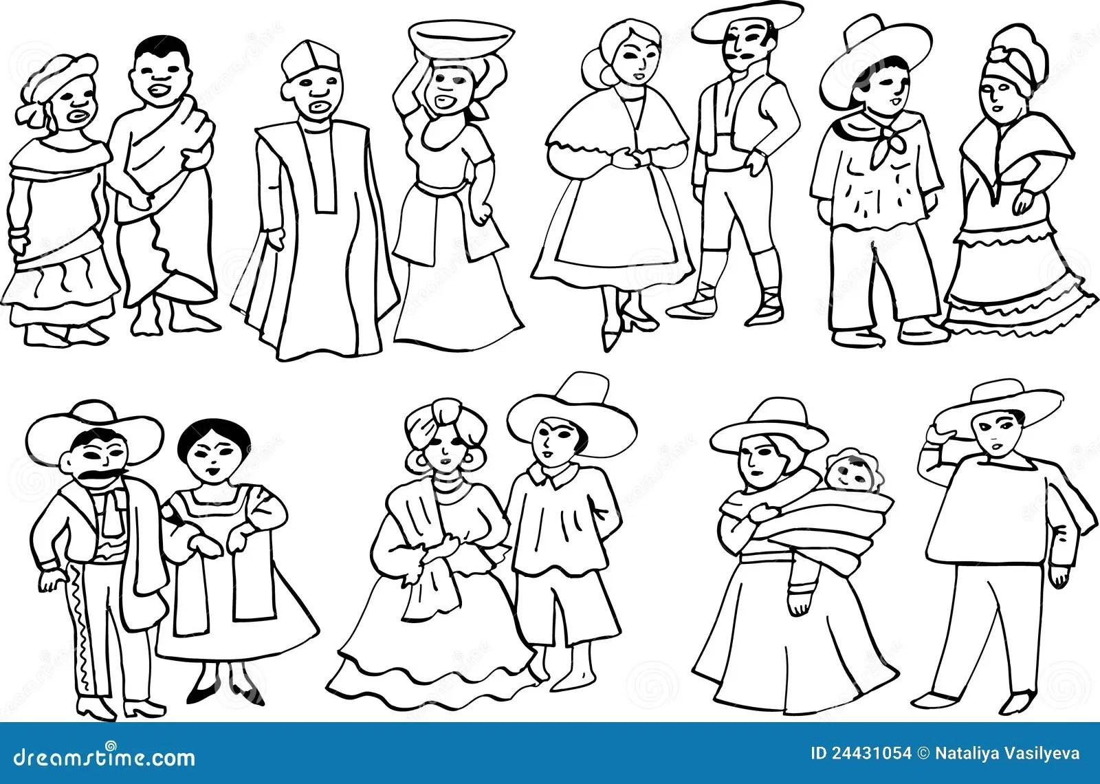 Trajes Nacionais Africanos E Latino Americanos Imagens De