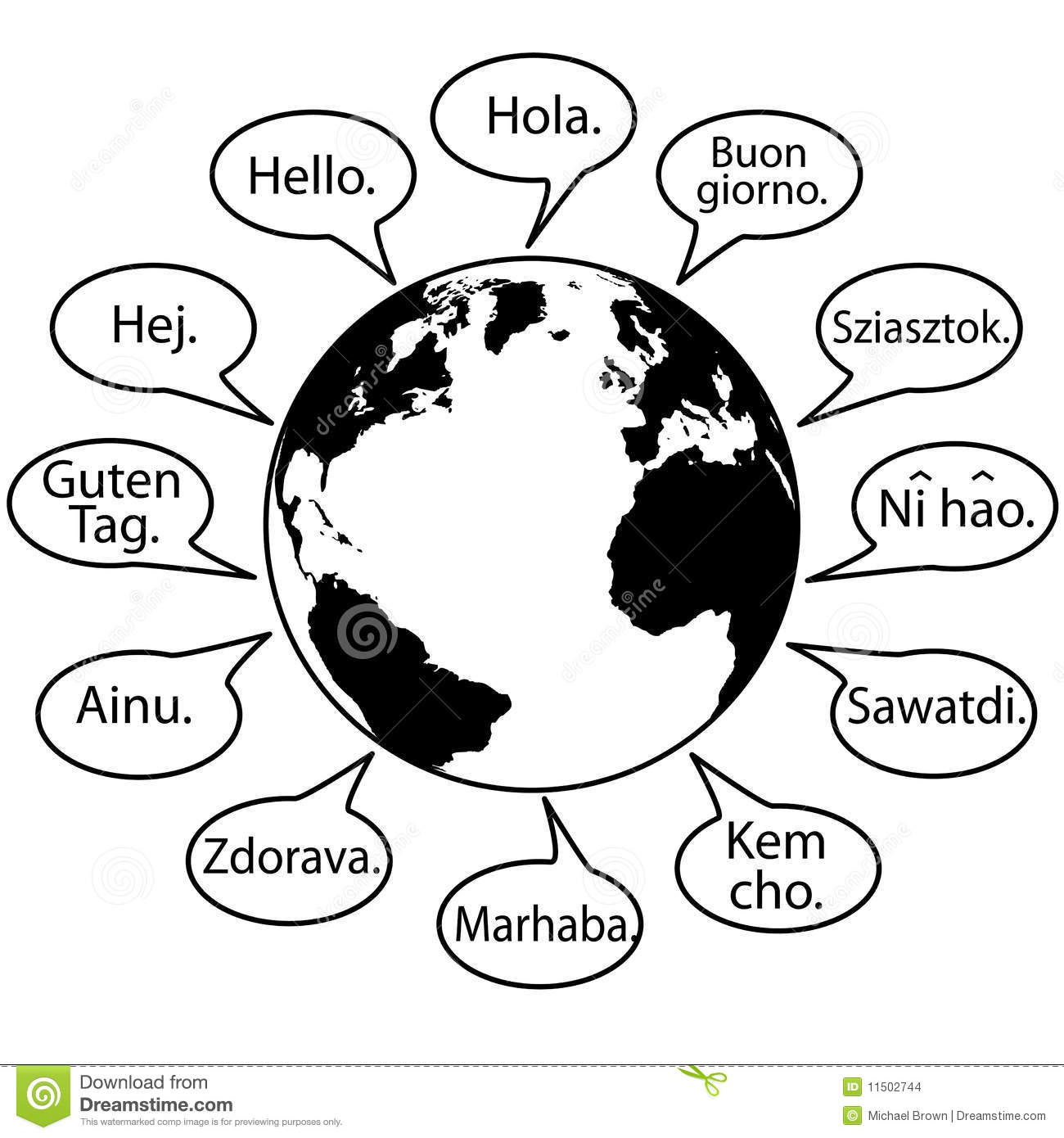 Translate Earth Languages Say Hello World Stock