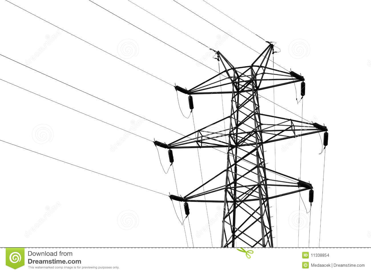 Transmission Tower With High Voltage Wires Stock Images