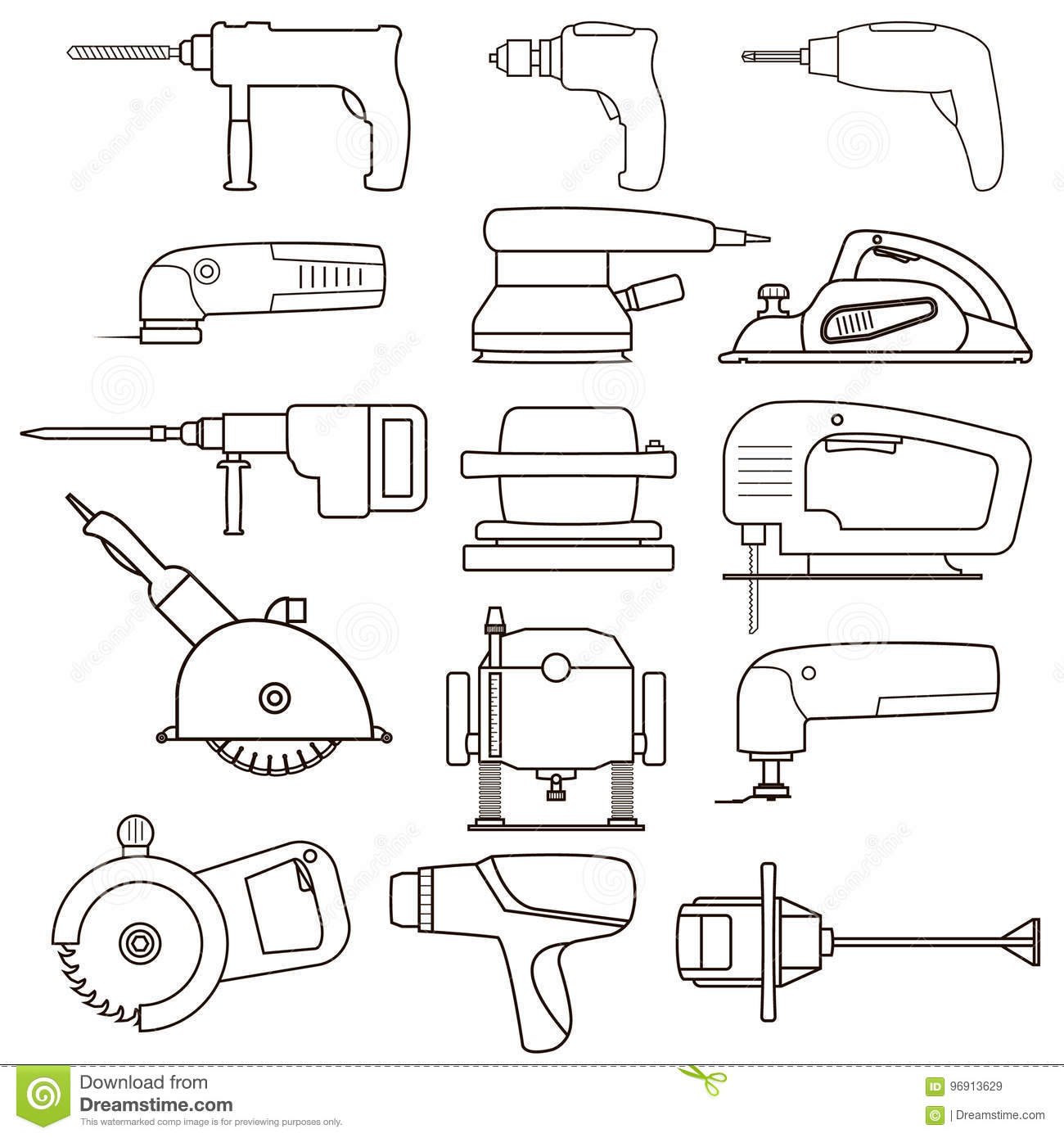 Construction Electric Power Tools Vectors Collection