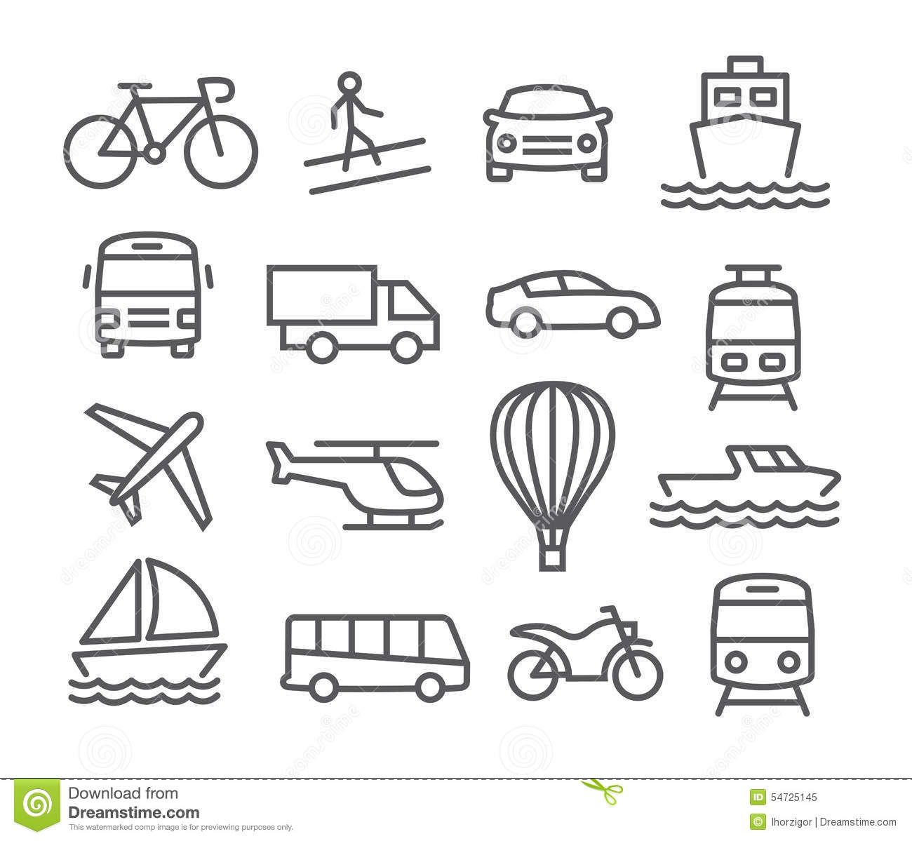Transport Icons Stock Vector Illustration Of Helicopter