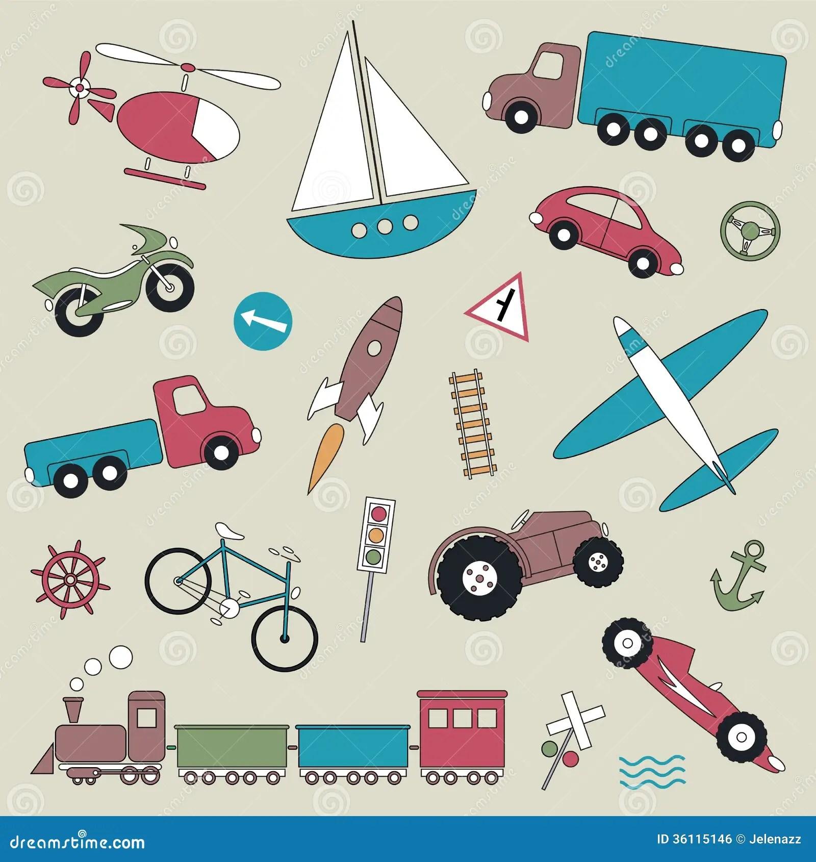 Transportation Vehicles Collection Illustration Stock