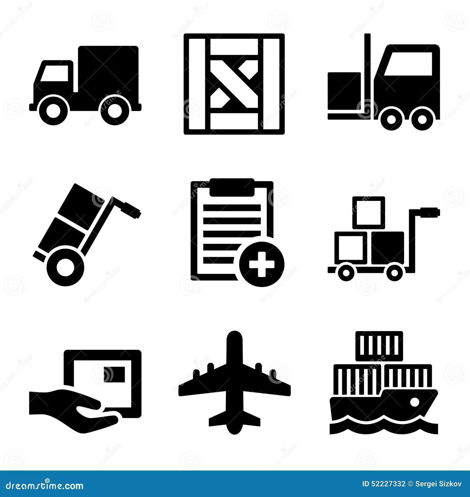 Transporte Carga Armazem E Icones Logisticos Ajustados