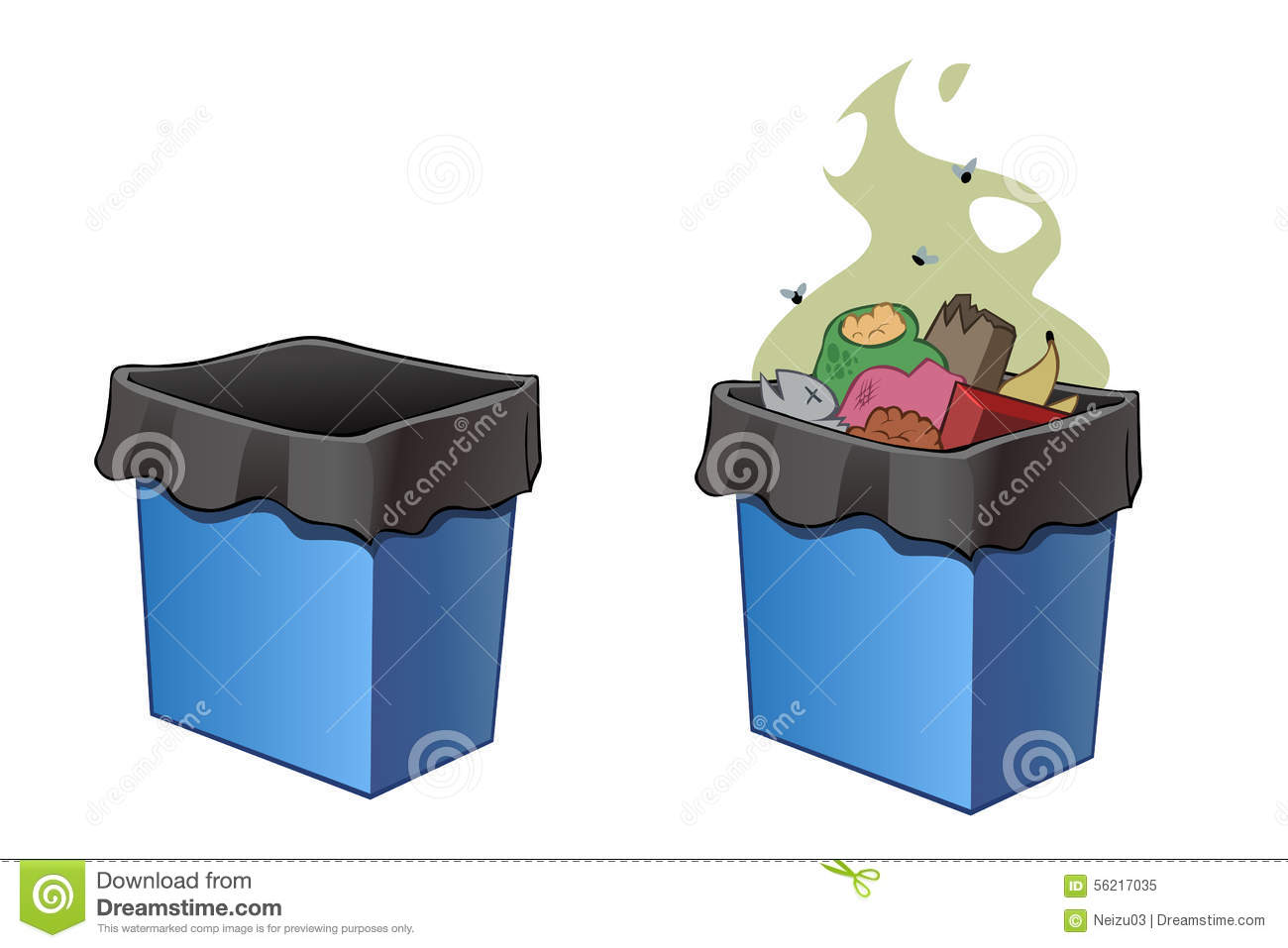 Trash Bins Full And Empty Stock Illustration