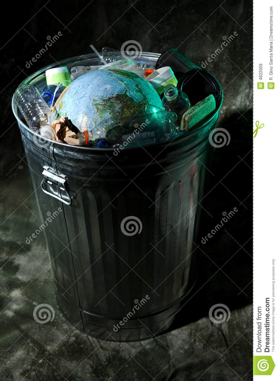 Trash Can With Earth Inside Stock Image Image 4622009