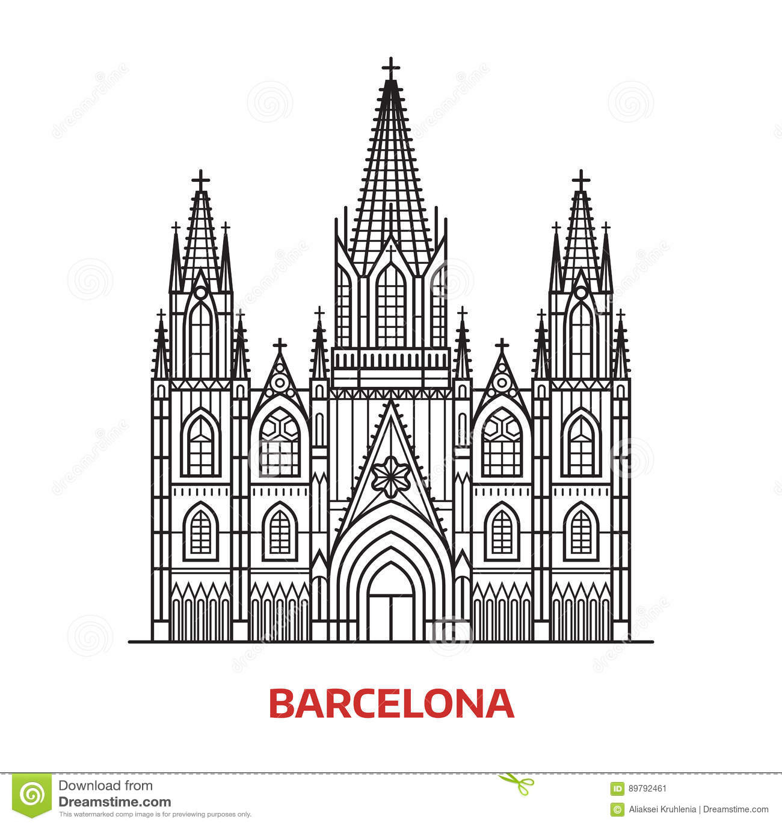 Illustration Spanish Tourist Attractions In Spain Vector