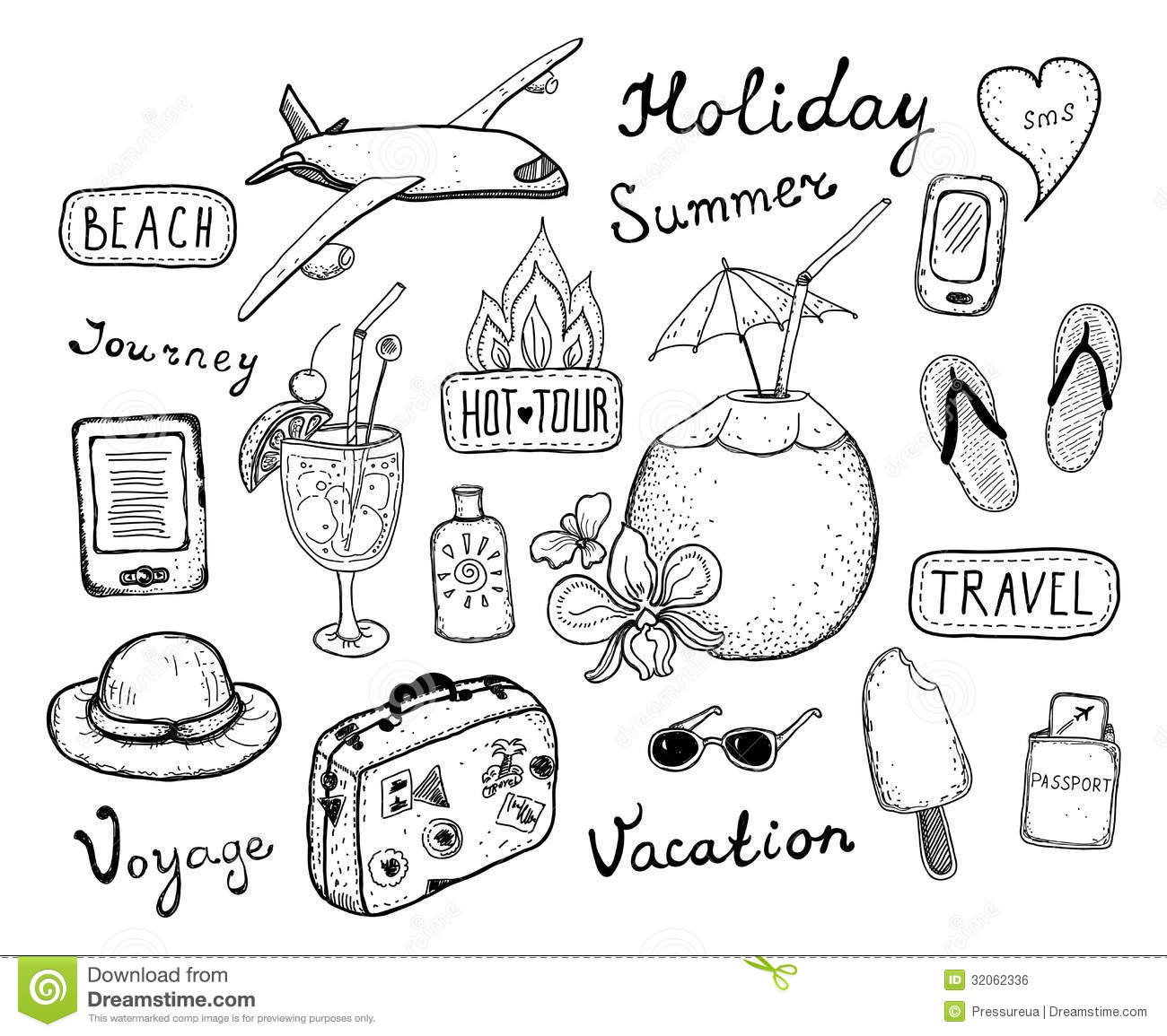 Travel Doodle Elements Set Stock Vector Illustration Of