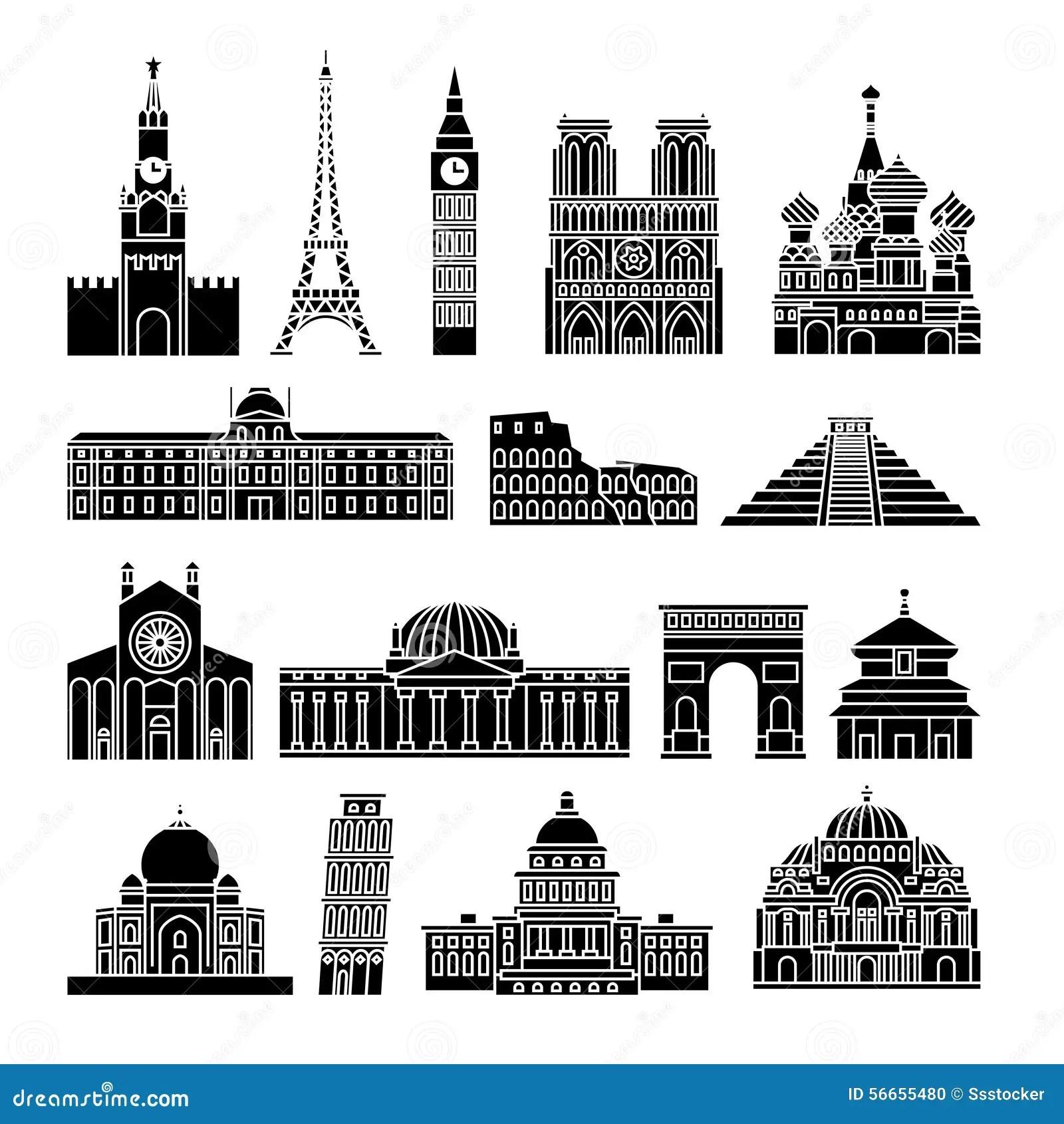 Travel Landmarks Icons Stock Vector Illustration Of