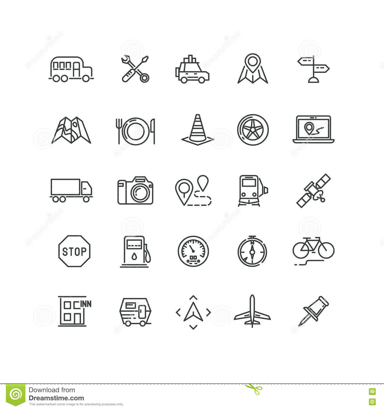 Travel Road Traffic And Location Vector Line Icons