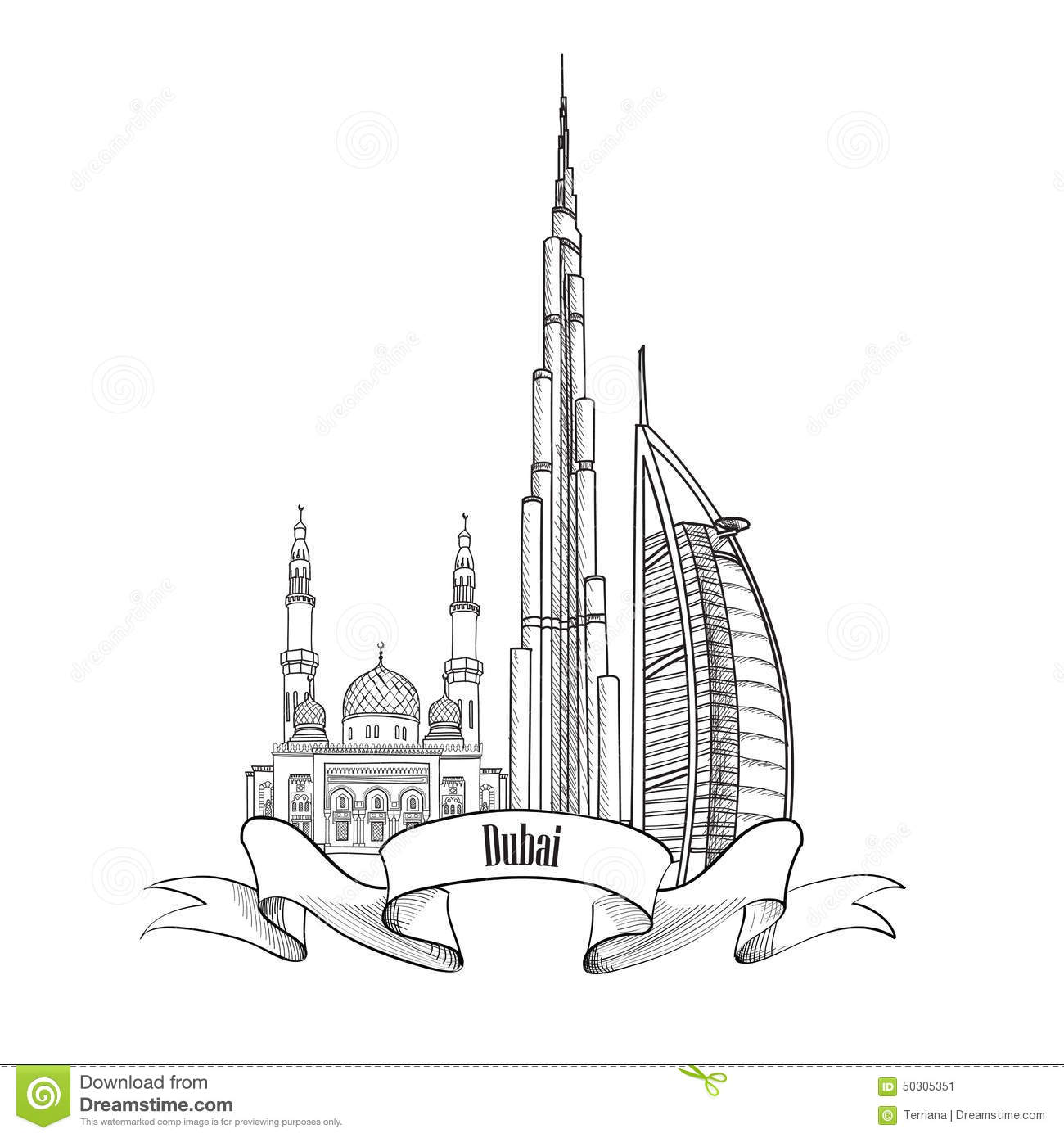Travel Uae Architectural Sign Dubai City Label Stock