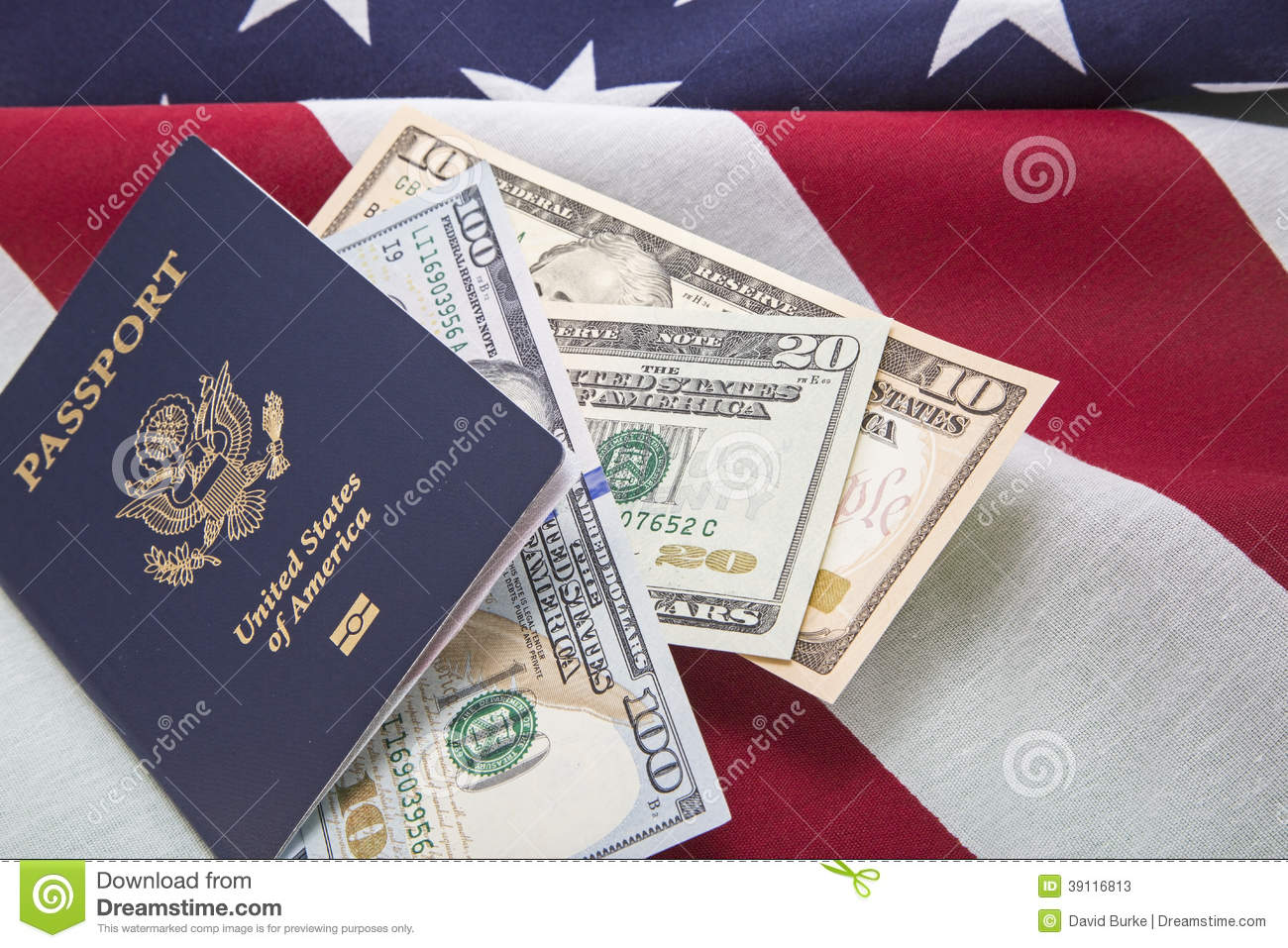 Travel Usa Currency Bills Passport Us Flag Success Stock