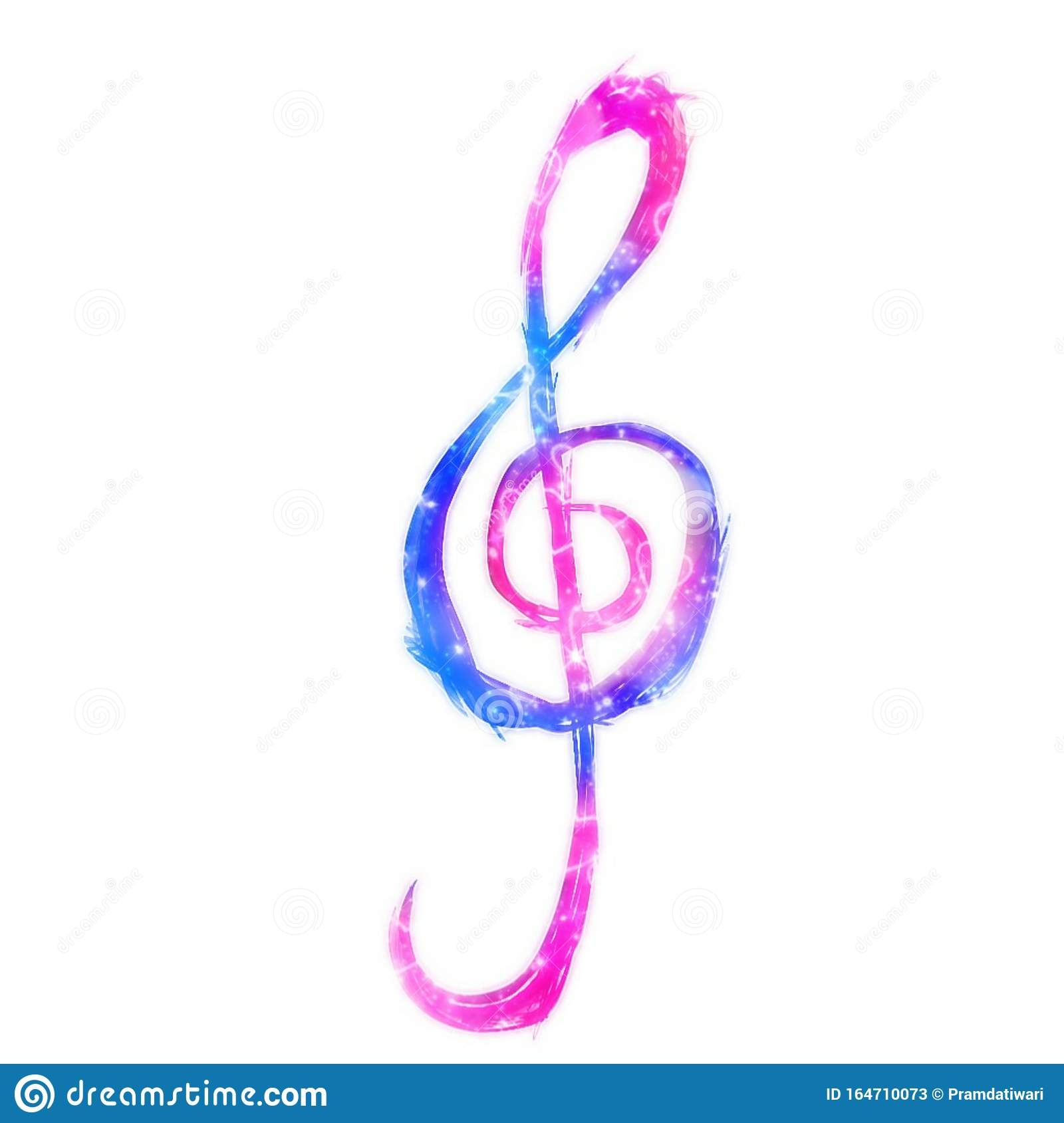 The Treble Clef Isolated On White Background Pink And