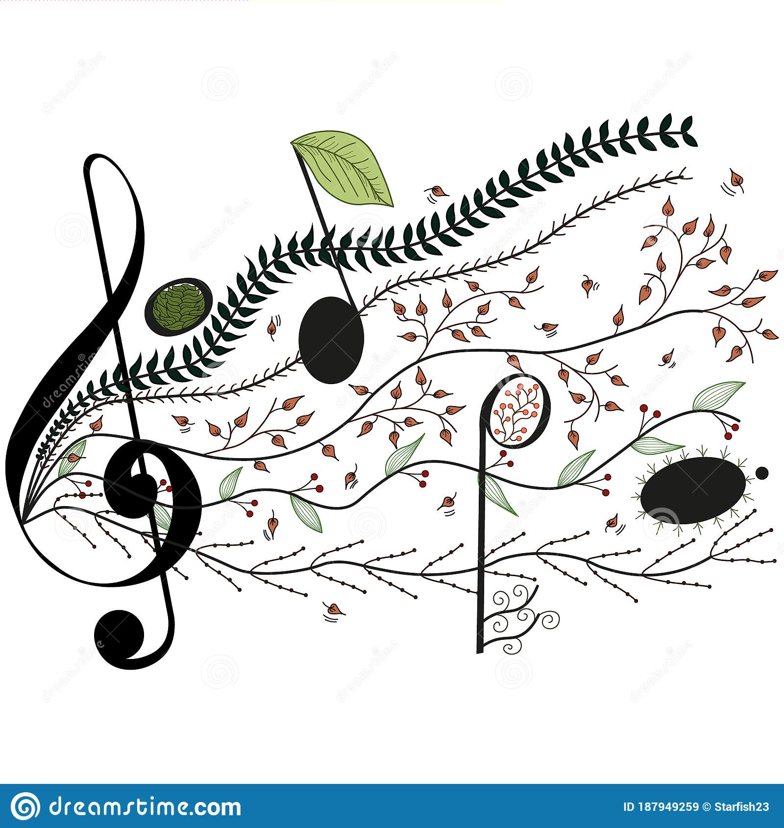 Treble Clef And Music Staff With Leaves Design Stock