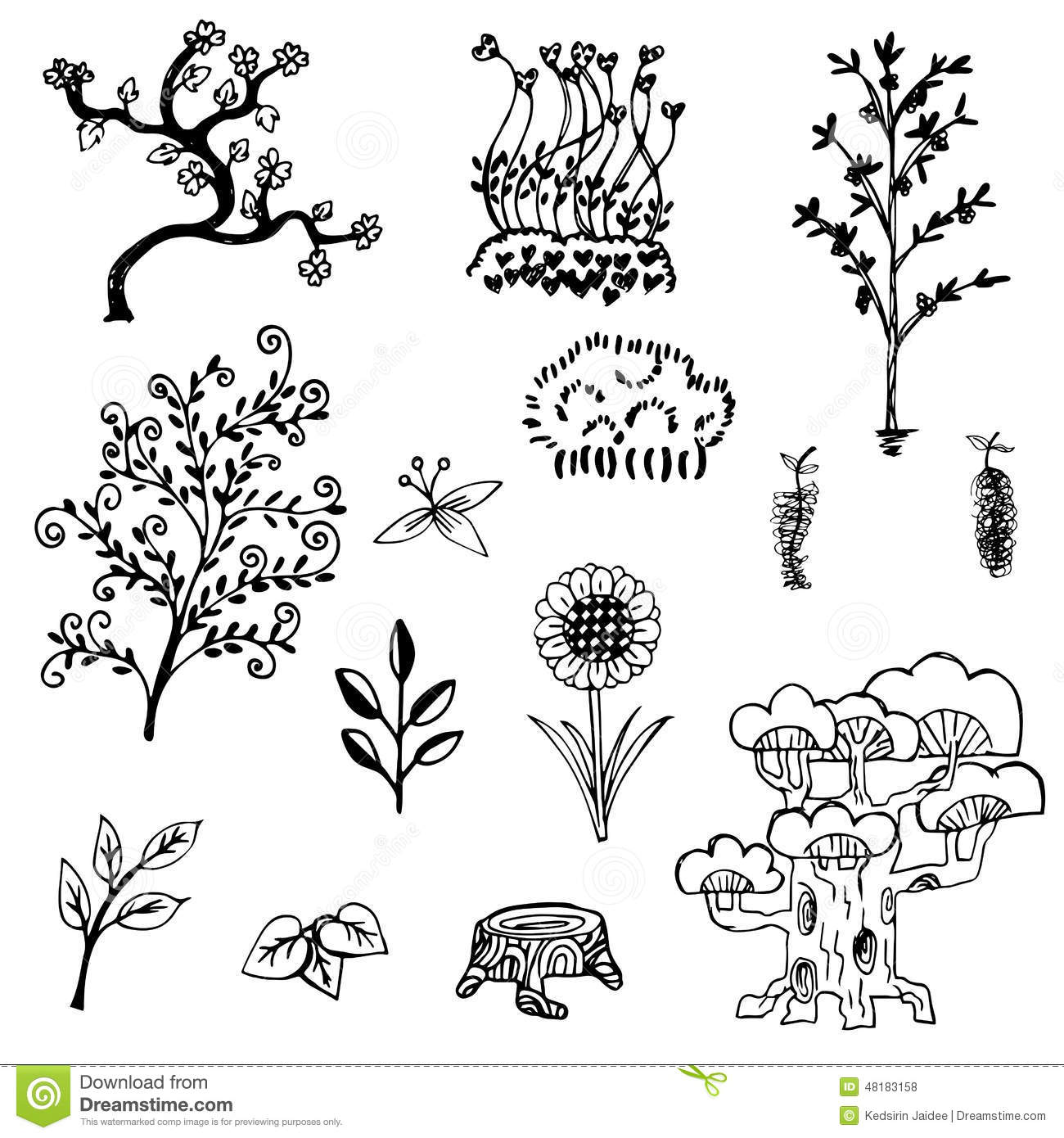 Tree And Flower Sketch Outline Vector Set On White