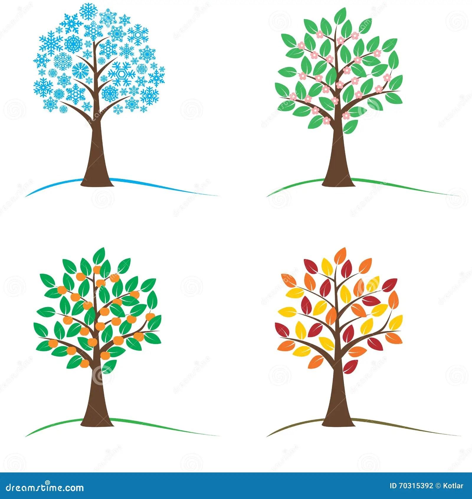 Empty Worksheet Four Season Trees