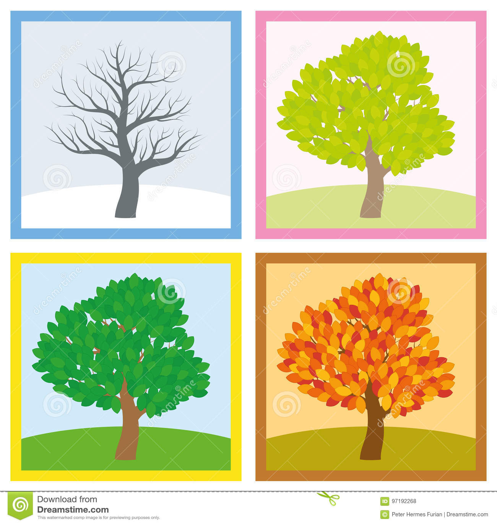 Tree Four Seasons Year Change Stock Vector