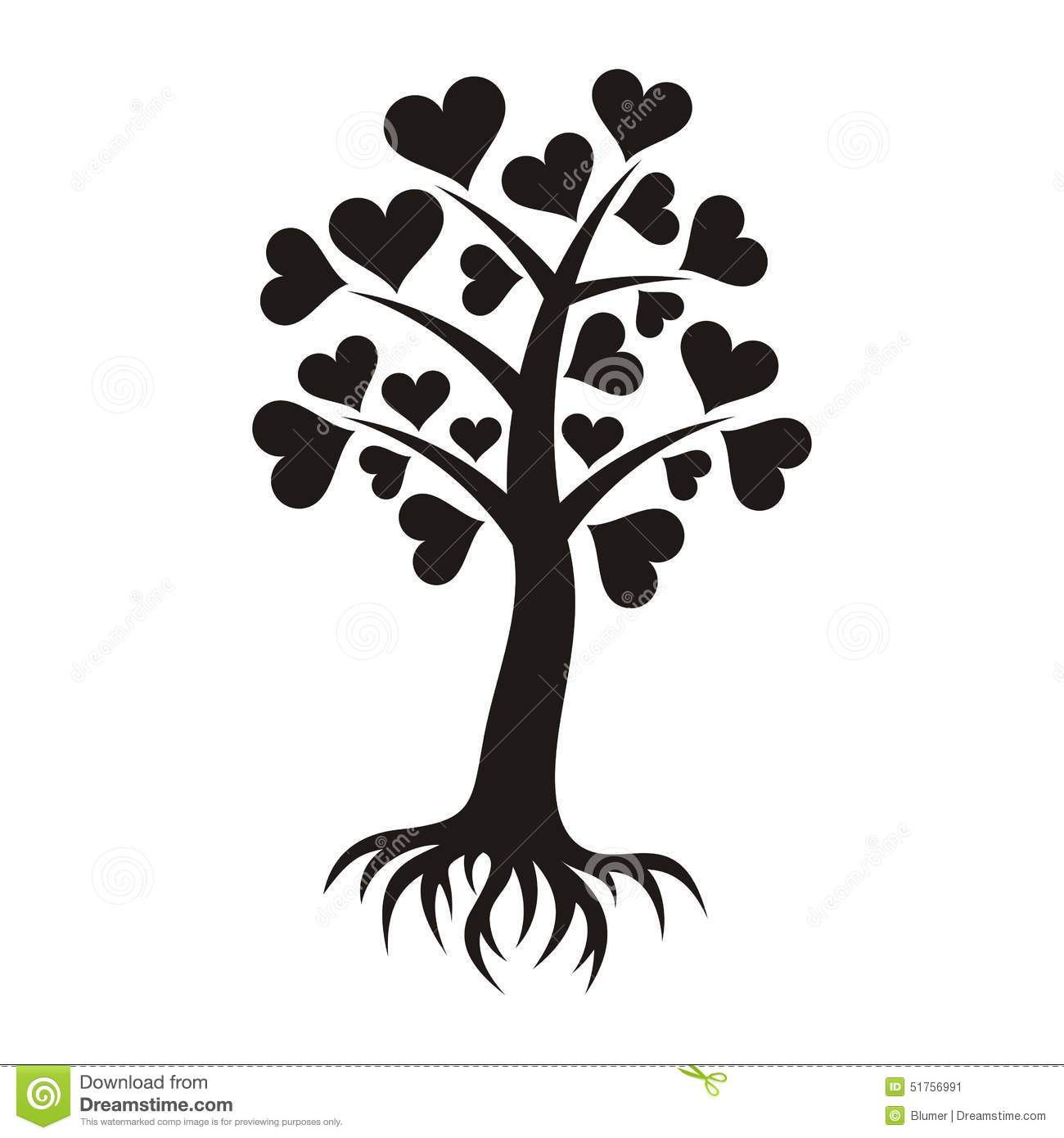 Tree With Hearts And Roots Stock Vector Illustration Of