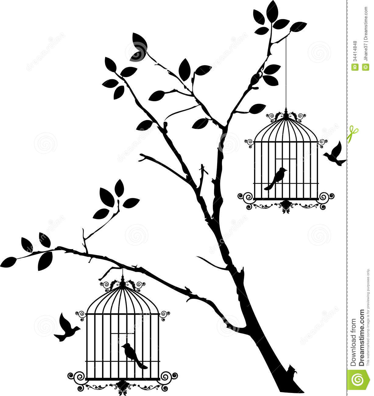 Beauty Tree Silhouette With Birds Flying And Bird In A