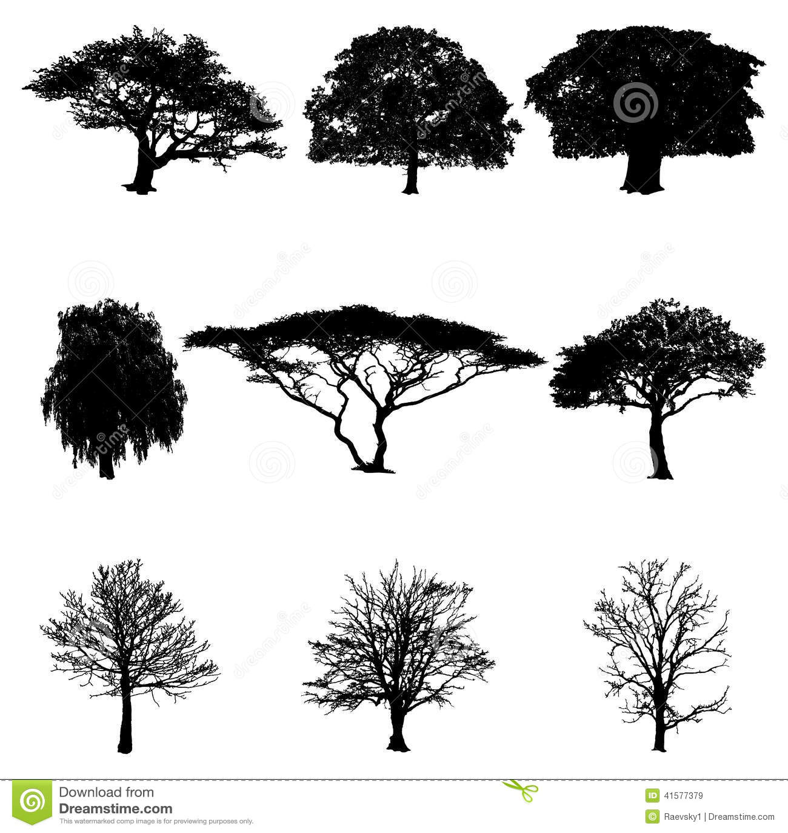 Vector Silhouettes Tree Cartoon Vector