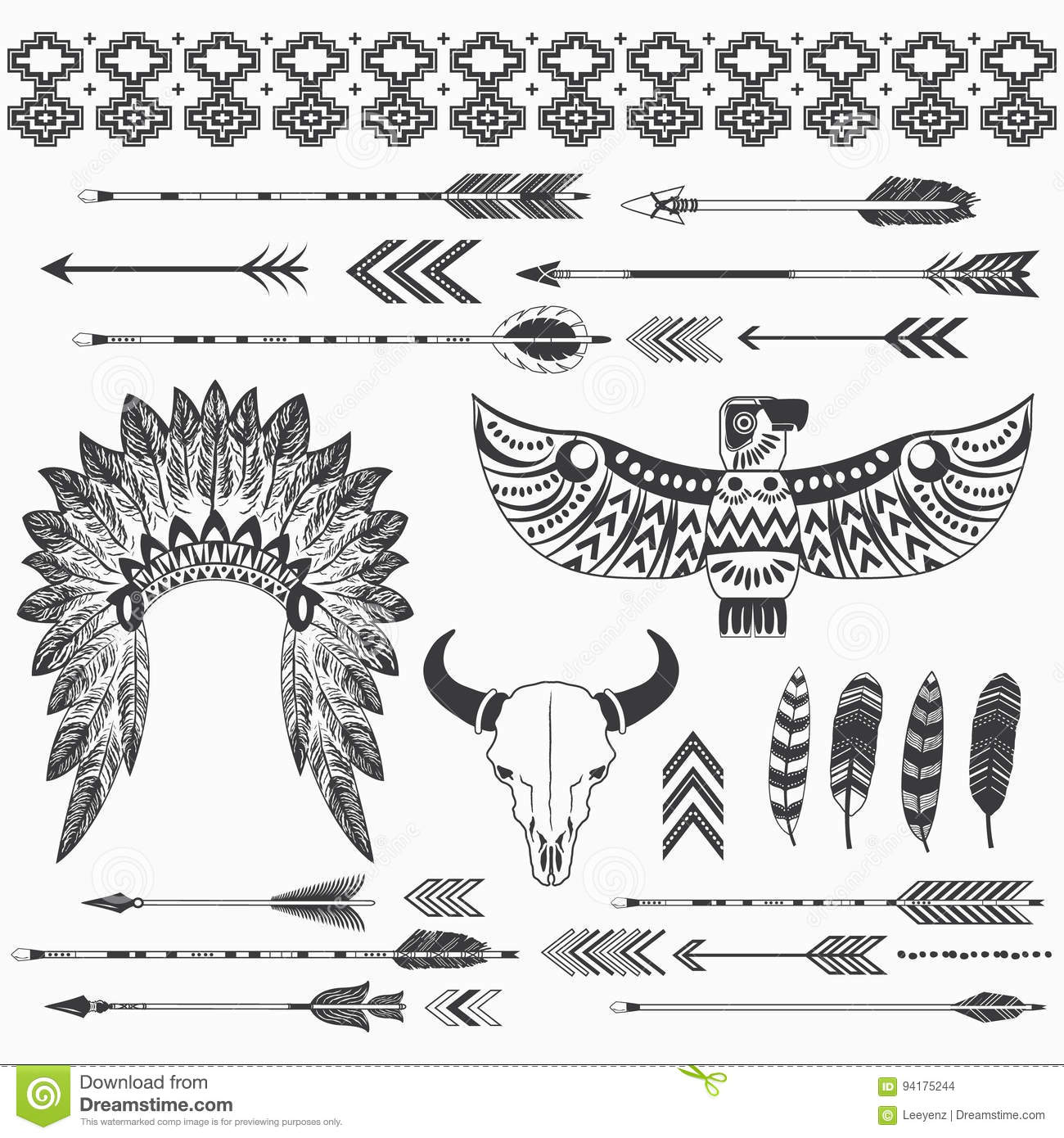 Tribal Indian Ethnicity Collections Stock Vector