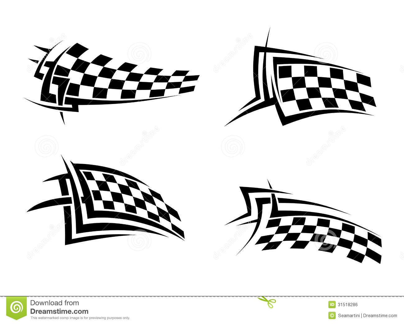 Tribal Signs With Checkered Flags Stock Vector