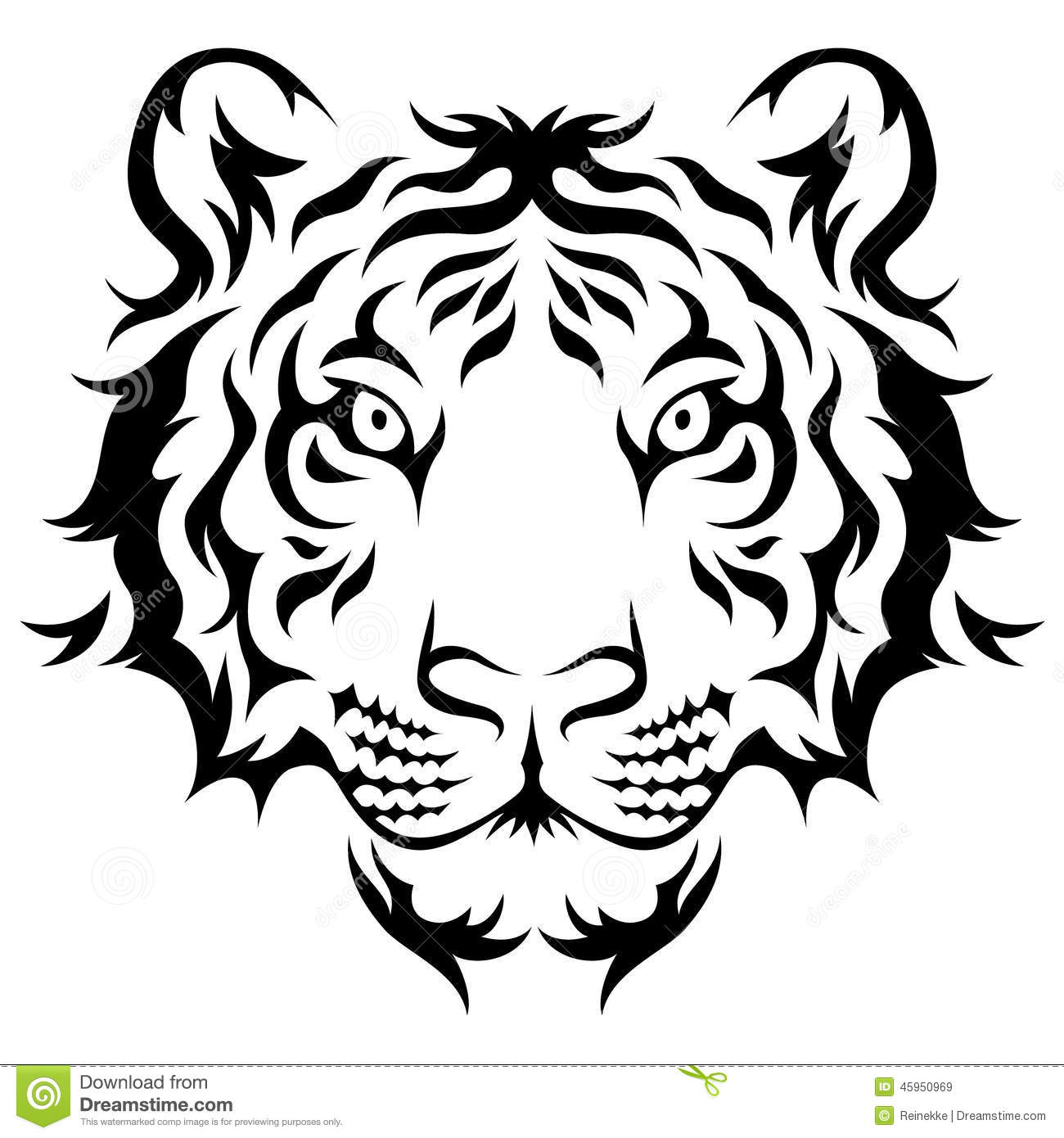 Tribal Tiger Stock Vector Illustration Of White Striped