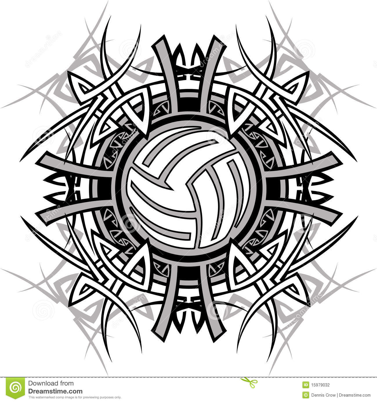 Tribal Volleyball Vector Logo Stock Illustration