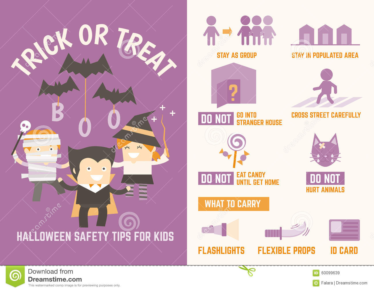 Trick Or Treat Halloween Safety Tips Stock Vector
