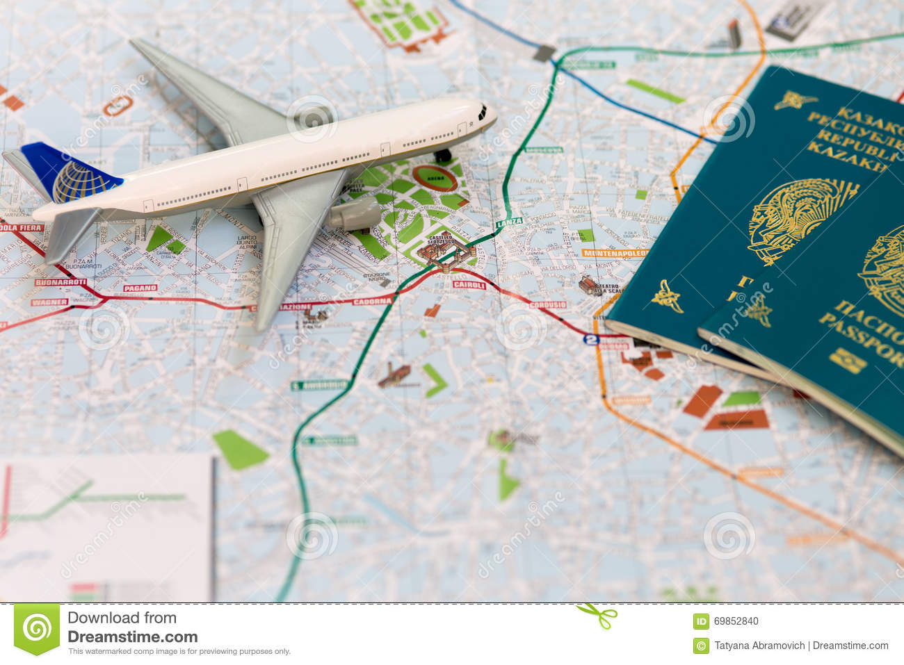 Trip To Italia  Passport  Plane And Map Of Milan Stock Photo   Image     Royalty Free Stock Photo