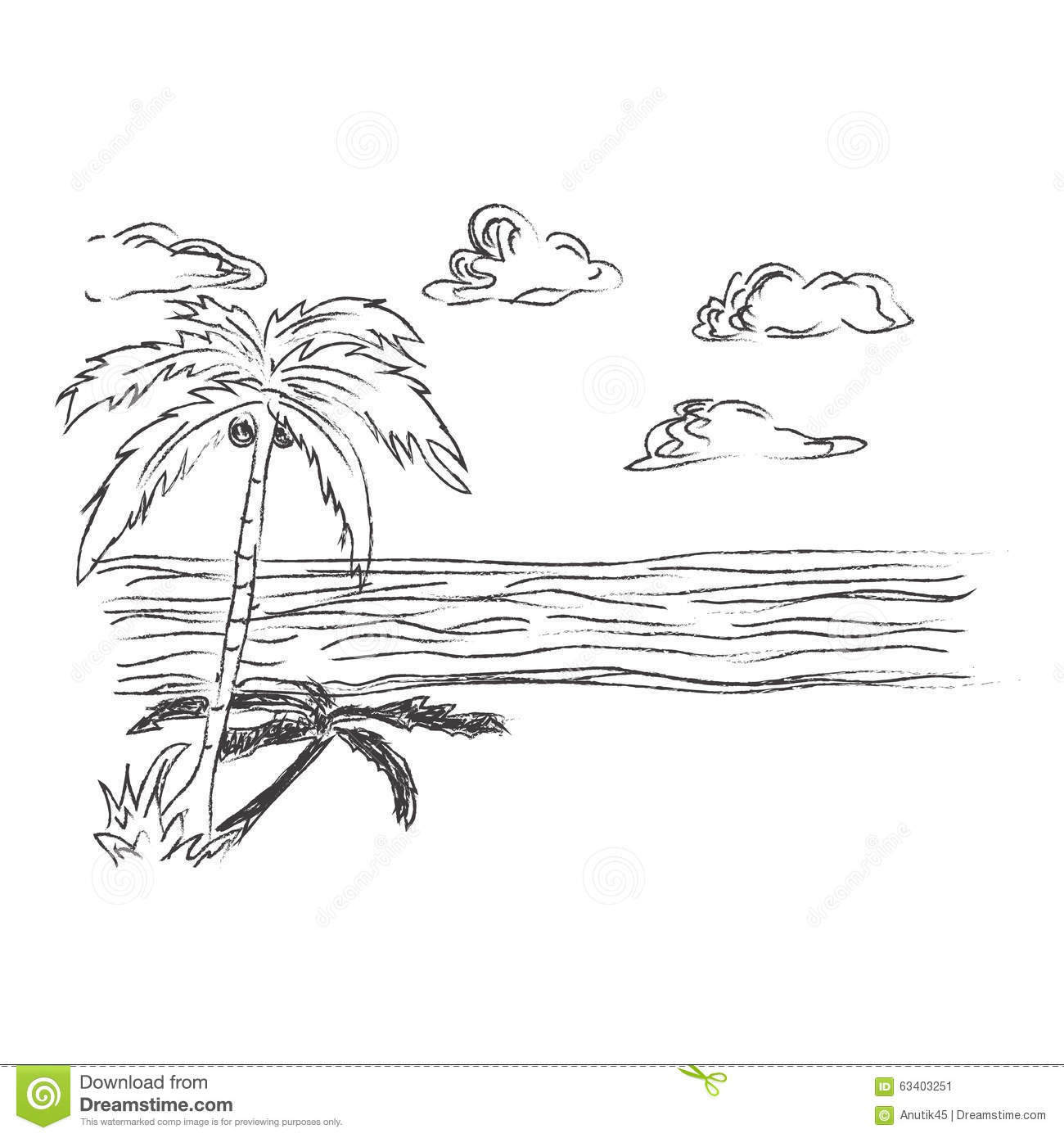 Tropical Beach Sketch Clip Art Stock Vector