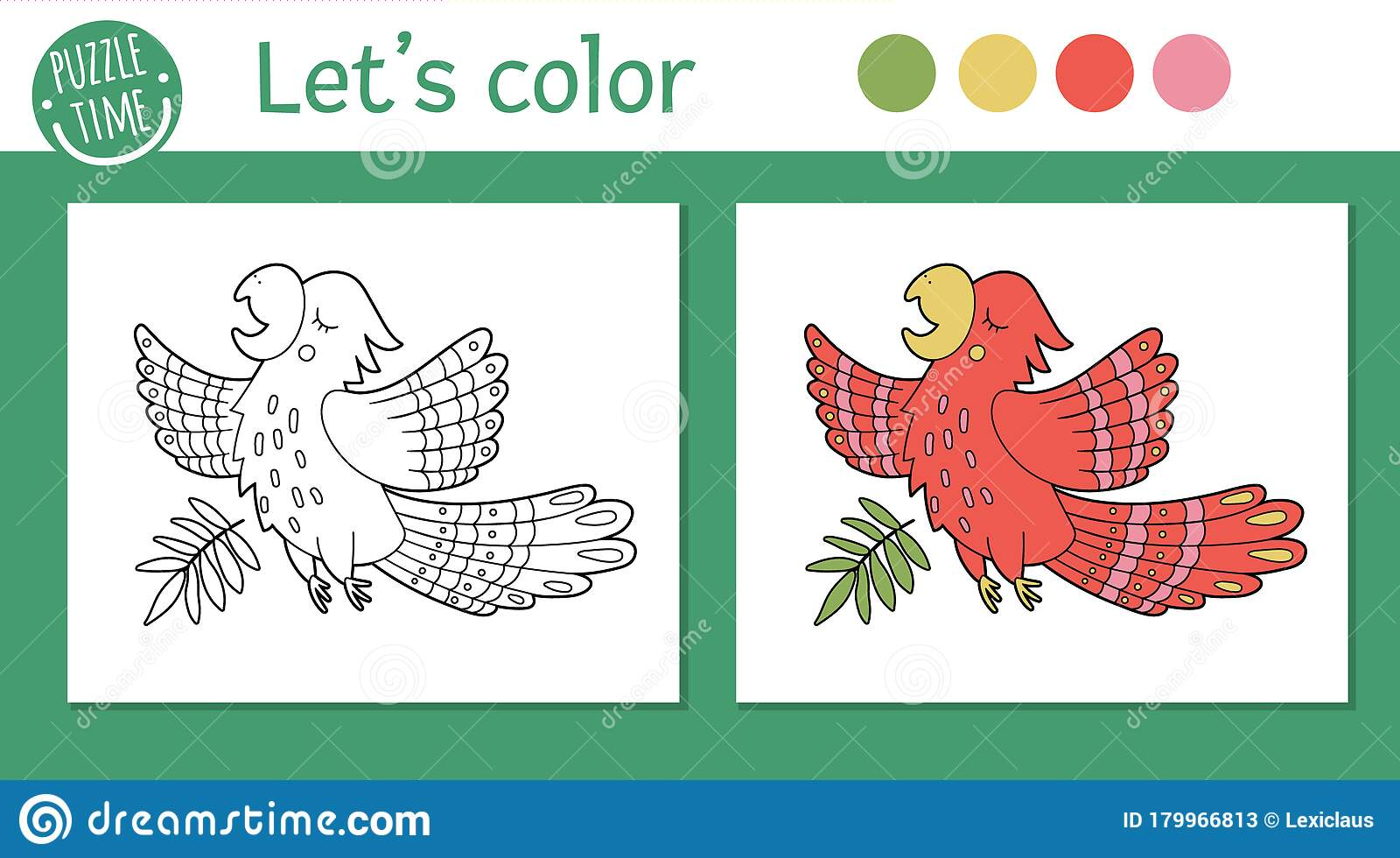 Tropical Coloring Page For Children Vector Parrot