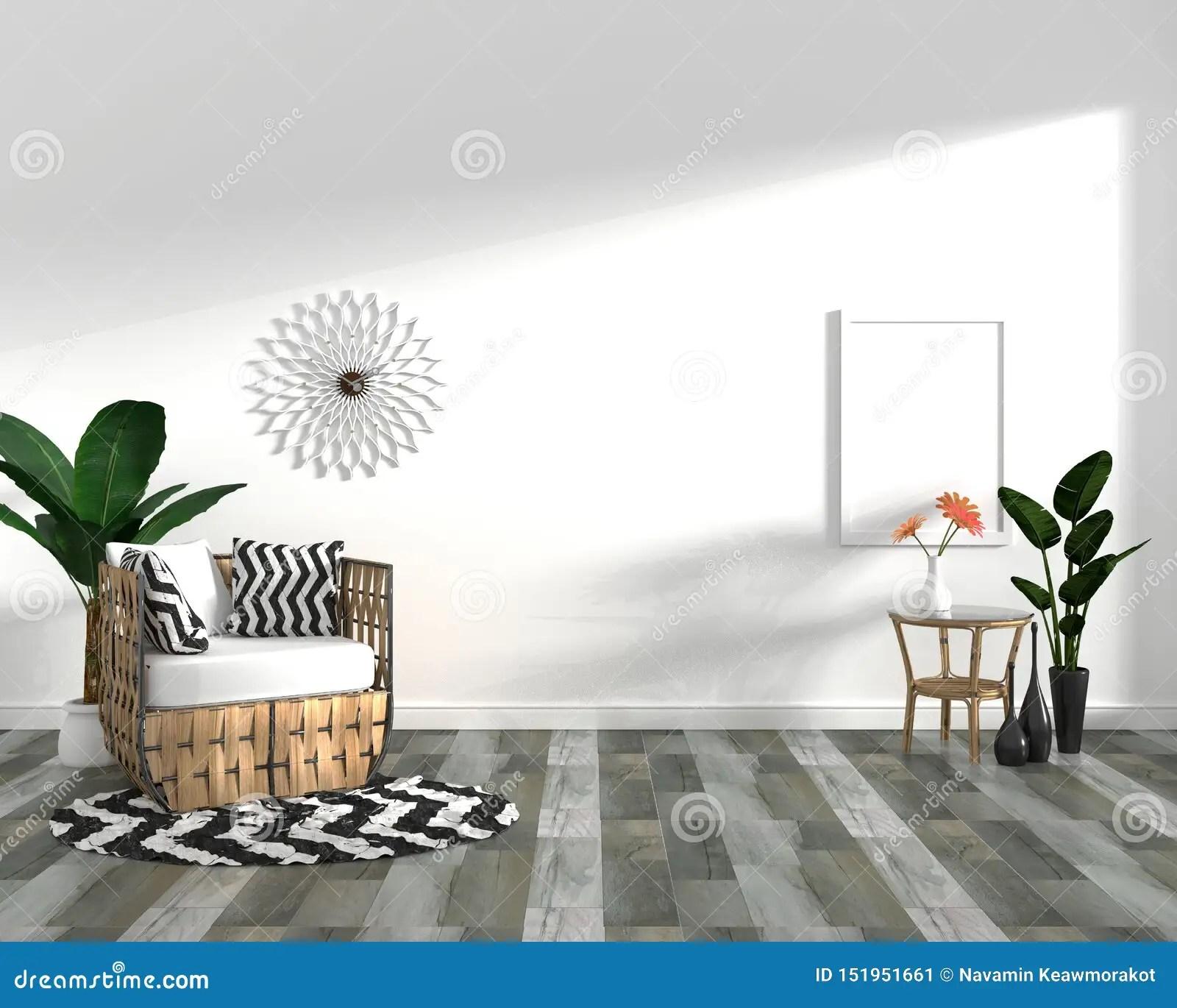https www dreamstime com tropical design armchair plant cabinet dark wood tile floor white background d rendering mock up image151951661