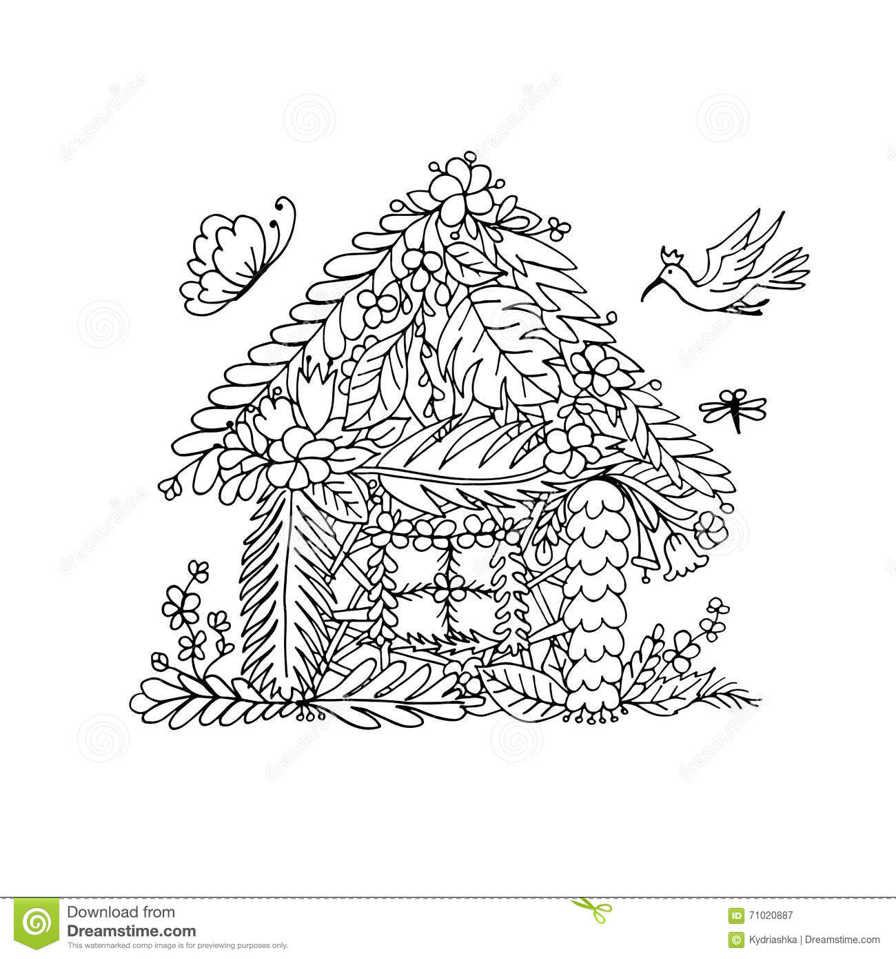 Tropical House Sketch For Your Design Stock Vector