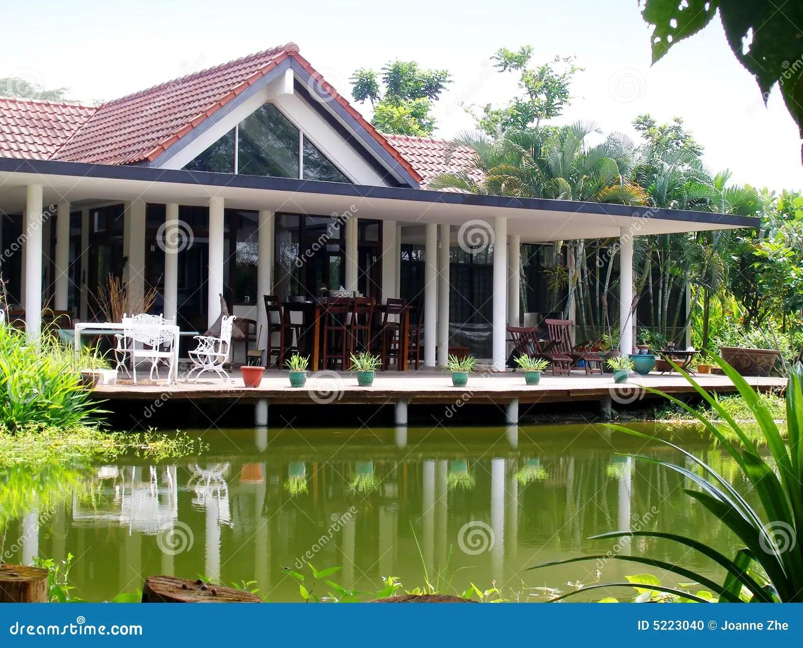 Tropical House Veranda Amp Natural Pond Stock Photo Image