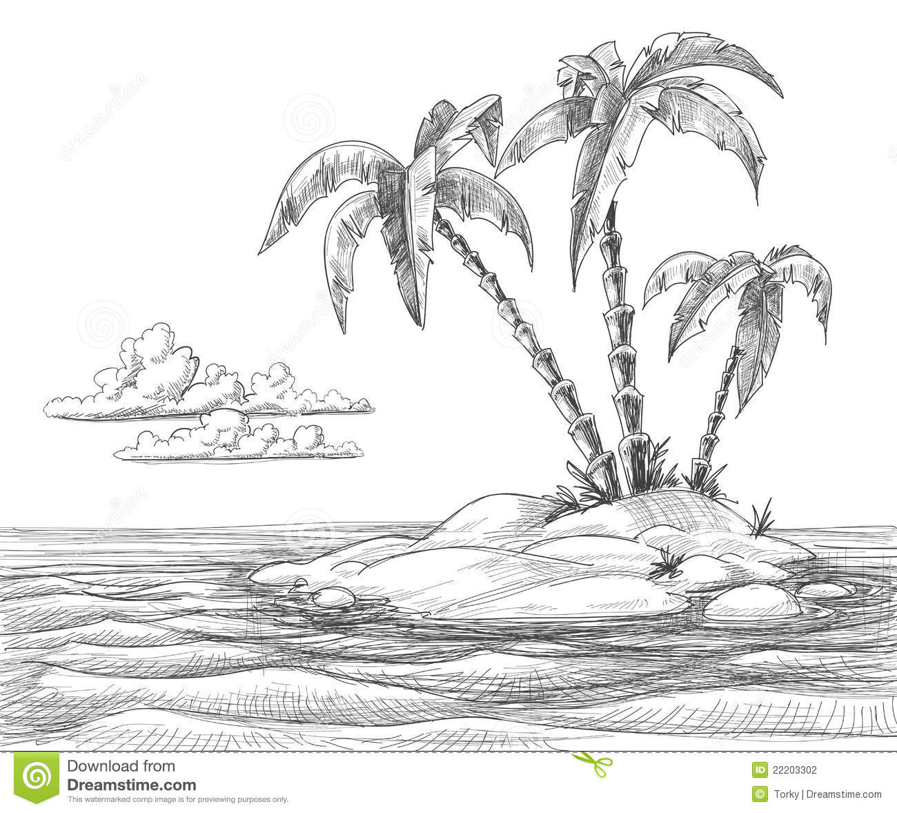 Tropical Island Sketch Stock Photography