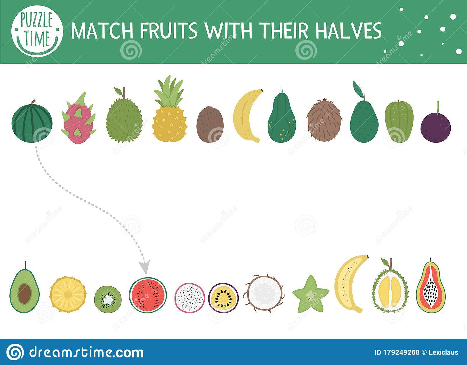 Tropical Matching Activity For Children With Fruits And