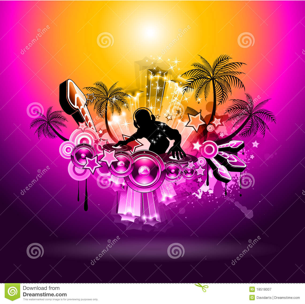 Tropical Sunset Music Party Disco Flyer Royalty Free Stock